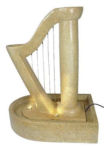 Arnusa Gartenbrunnen Harfe Design Springbrunnen mit LED Beleuchtung Zimmerbrunnen Zierbrunnen Gartendeko Deko