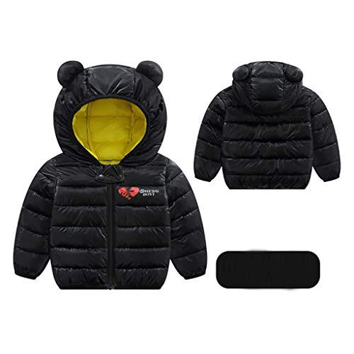 Livoral Kinder Jungen Mädchen Wintermäntel Jacke Kinder Reißverschluss Dicke Ohren Schnee Kapuze Outwear(B-Schwarz,110)