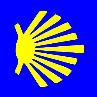 American Vinyl Blue Square w Seashell Camino De Santiago Sticker (Compostela Way Spain Sea Muschel)