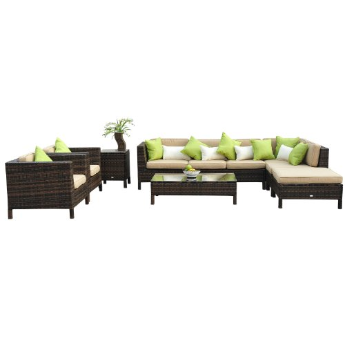 Outsunny 37 Piece Garden Furniture Set with 2 Side Tables, Polyrattan