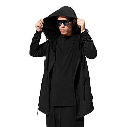 West See Herrem Männer Hoodie Pullover Cardigan mit Kapuze Strickjacke Oversize Mantel Casual (DE L/Etikette XXXL, Schwarz)