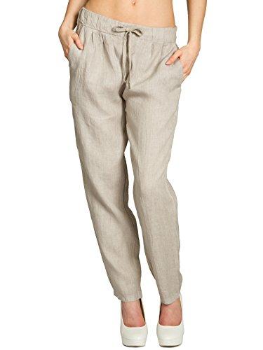 Caspar KHS045 leichte Damen Casual Sommer Freizeit Hose Leinenhose, Farbe:beige, Größe:M - DE38 UK10 IT42 ES40 US8