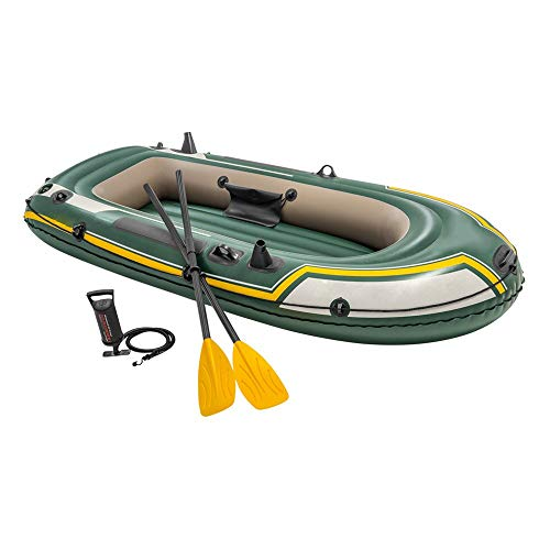 WXH Juego de Botes inflables, Kayak con remos de Aluminio y Bomba de Aire de Alto Rendimiento Soportes para cañas de Pescar y Bolsa de Engranajes incorporados, diseño de PVC a Prueba de pinchazos,XL