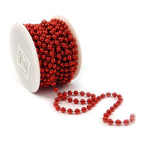 Sepkina Perlenband Christbaumkette Christbaum Perlenkette Perlengirlande Perlenschnur Weihnachten Advent Hochzeit Deko Tischdeko Meterware rot (S-P10-04-red) (0,90€/m)