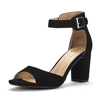 DREAM PAIRS Women s Hher Black Nubuck Low Heel Pump Sandals - 8 M US