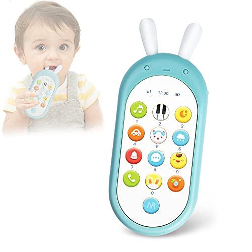 Richgv Movil Bebe, Telefono Juguete, Mando a Distancia Conejo, Teléfono para niños con Luces de Flash, Sonidos y Canciones(Azul)