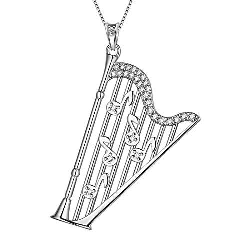 AuroraTears Harfe Halsketten 925 Sterling Splitter Musiknote Anhänger Violinschlüssel Charme Schmuck Geschenke für Frauen DP0235W