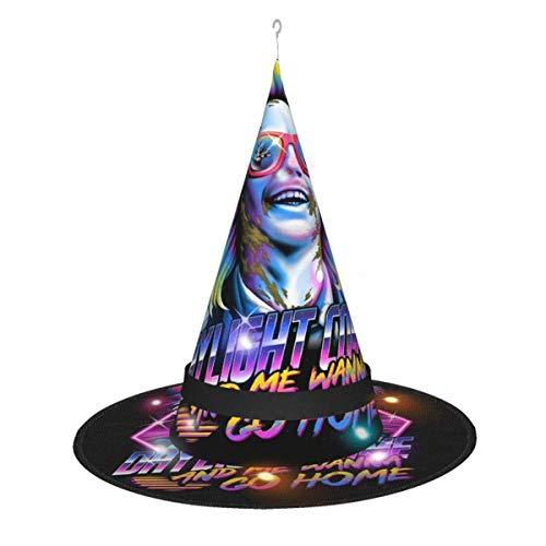 AOOEDM Sombrero de Bruja de Halloween Fiesta Cosplay Decoración Beetlejuice 80s Nostalgia Sombrero de Bruja gráfico para Mujer Disfraz Accory Negro