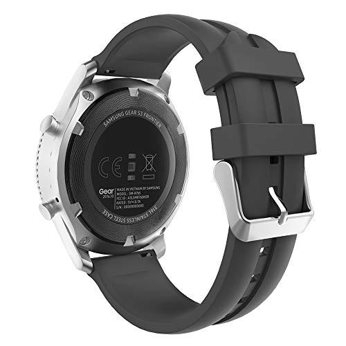 MoKo Cinturino in Silicone Compatibile con Galaxy Watch 3 45mm/Galaxy Watch 46mm/Gear S3 Frontier/Classic/Huawei Watch GT2 Pro/GT2e/GT 46mm/GT2 46mm/Ticwatch PRO 3, 22mm Braccialetto - Nero