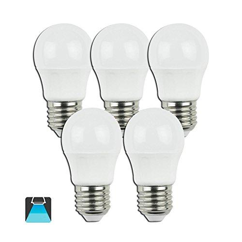 Aigostar - Pack de 5 Bombillas LED G45 de 5 Watios, casquillo gordo (E27), 390 lumen y luz fria (6400K) [Clase de eficiencia energética A+]