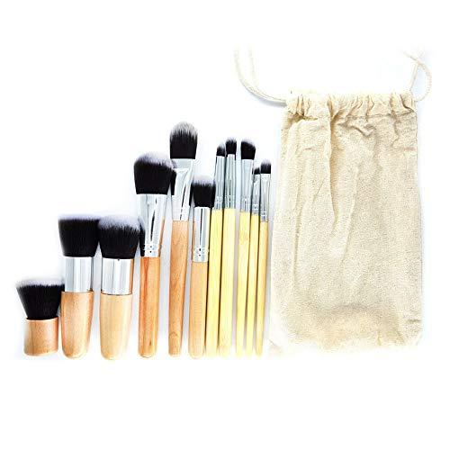 HUJBFTY 11 PCS Bambou Poignée Maquillage Pinceaux Base Set Poudre Mélanger Maquillage Pinceau Beauté Outil De Beauté Kits avec Sac De Rangement