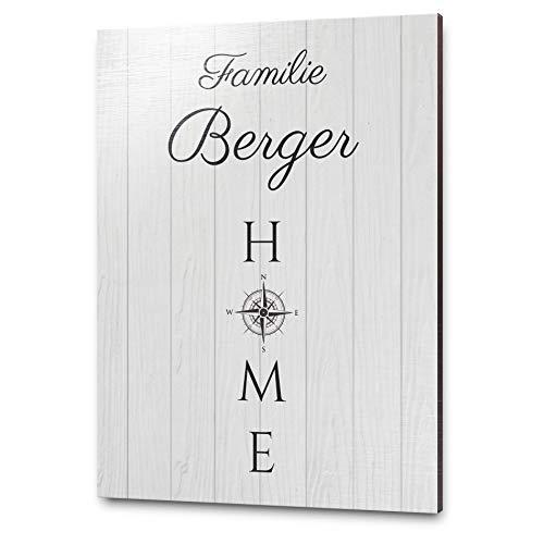 Modernes Holzschild mit Namen & Wunschtext als Türschild o. Namensschild für die Familie mit wetterfestem UV Druck | Zum Aufhängen mit hübscher Kordel - mit Bohrlöchern - selbstklebend