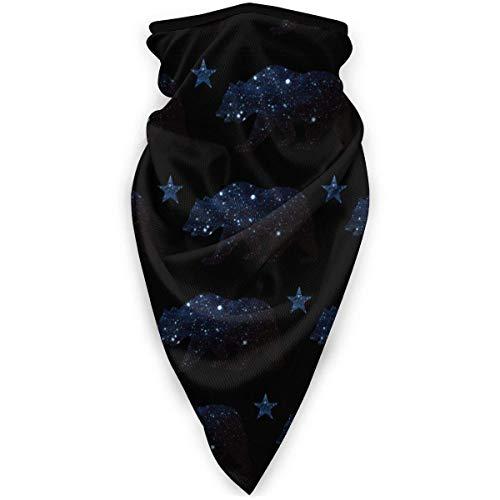 Tzshak Galaxy California Bär und Stern Windbreak Schal Gesichtsmaske Waschbare Staubmaske Sturmhaube Bandana