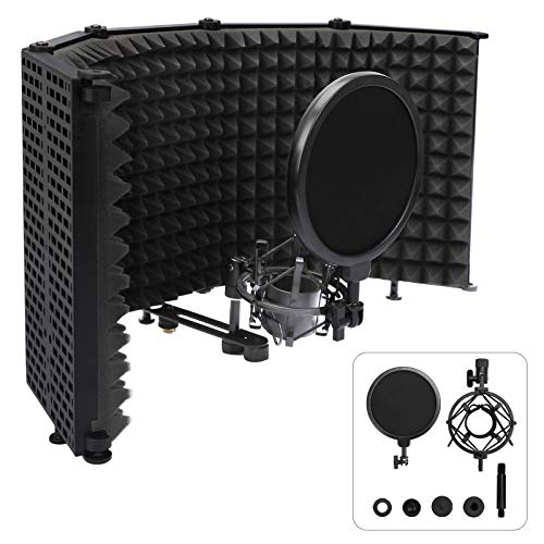 Microphone Isolation Shield with Blowout Cloth, Foldable With 5/8' Mic Threaded Mount, Sound Absorbing and Vocal Recording Microphone Isolation Shield Panel
