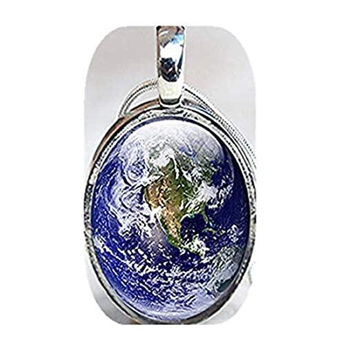 Youkeshan Collar de la tierra, collar planeta, collar con colgante de espacio de cristal, planeta tierra, collar de ciencia espacial