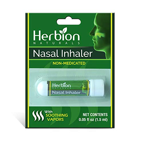 Herbion Naturals Nasal Inhaler Non-Medicated, 0.05 (1.5ml) - Relieves Nasal Congestion & Blockage, Sinusitis & Allergic Conditions - Menthol, Clove Oil, Eucalyptus Oil & Camphor, 0.05 Fl Oz