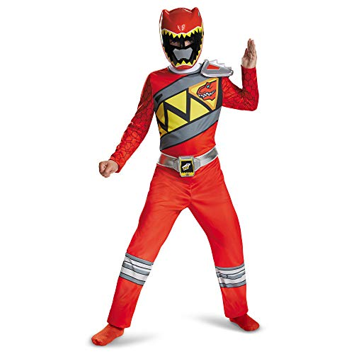 Red Power Rangers Costume for Kids. Official Licensed Red Ranger Dino Charge Classic Power Ranger Suit with Mask for Boys & Girls, Medium (7-8)