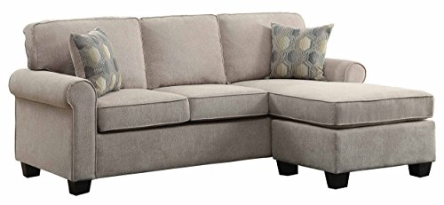 Homelegance Clumber 82' Reversible Sectional with Accent Pillows, Beige