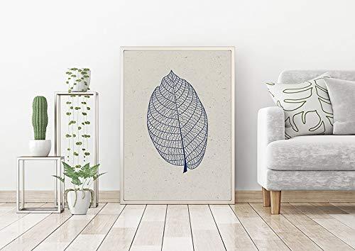 Láminas modernas de mediados de siglo, carteles de hojas azules, imprimibles monocromáticas, estilo escandinavo, impresiones abstractas, cuadros decorativos familiares sin marco blancos Z49 70x100cm