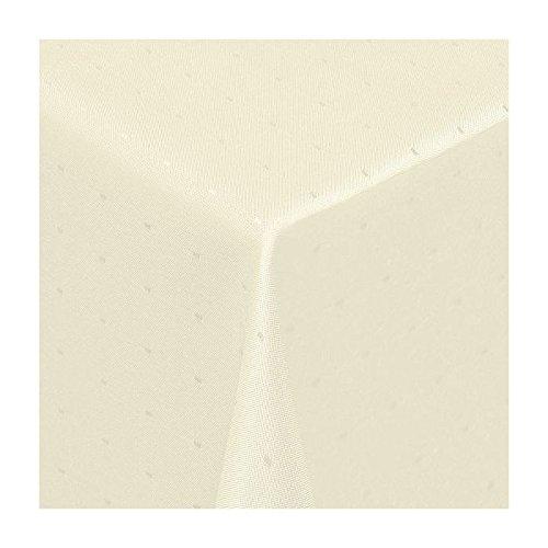 TEXMAXX Damast Tischdecke Maßanfertigung im Punkte-Design in Creme-beige 140x320 cm eckig,weitere Längen und Farben wählbar