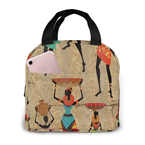 Antfeagor Portable Lunch Tote Bag Cute African Women Afrocentric Artwork Women Lunch Bag Insulated Cooler Thermal Reusable Bag Lunch Box Handbag Bags for Women/Picnic/Boating/Beach/Fishing/Work