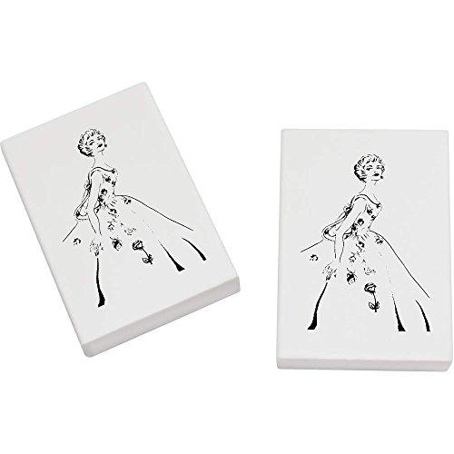 Azeeda 2 x 45mm 'Vierzigerjahre Weinlese-Ballkleid' Radiergummis (ER00002846)