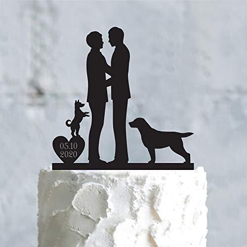 Decoración personalizada para tarta de pareja gay de boda, labrador de perrito y perro, decoración para tarta de boda gay y corazón con perro personalizado boda gay hombres pastel Topper para niñas