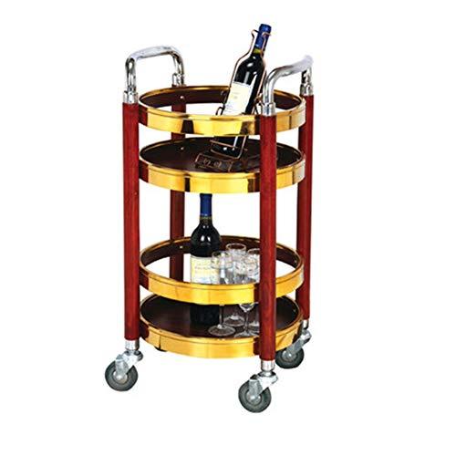 Salon Trolleys Cooks Professional Bamboo Küchenwagen Island Cart, Weinregal, Drahtschublade & Regalaufbewahrung mit Granit-Arbeitsplatte auf Rollen