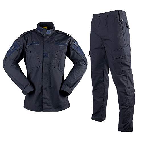 LANBAOSI Herren Taktische Jacke und Combat Hose Set Camo Woodland Jagd ACU Military Uniform Gr. X-Small, marineblau