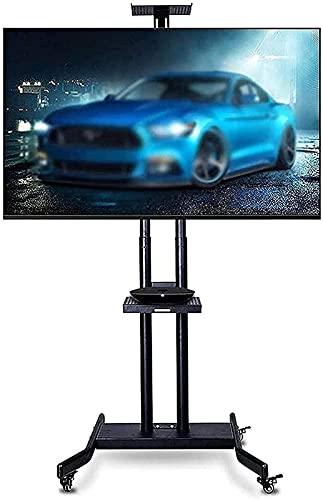 DZCGTP Soporte para TV Soporte para TV móvil con Soporte de Doble Bandeja Carro de TV de Piso Ajustable en Altura de 32-70'Tiene Capacidad para 154 Libras