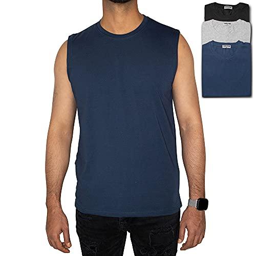 TAATEX Pack de 3 camisetas interiores deportivas sin mangas para hombre, para correr, gimnasio, yoga, negro, gris, azul marino, L
