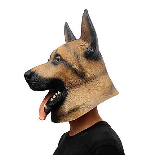 Mscara de cabeza de perro pastor alemn cabeza de ltex animal para Halloween disfraz fiesta carnaval Cosplay