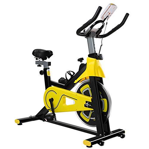 HLEZ Bicicletas Estáticas Spinning, Ergómetro Aparato Doméstico Bicicleta Fitness con Consola y Sensores de Pulso en Manillar Ideal para Quemar Grasa y Mejorar la Forma Física,Amarillo