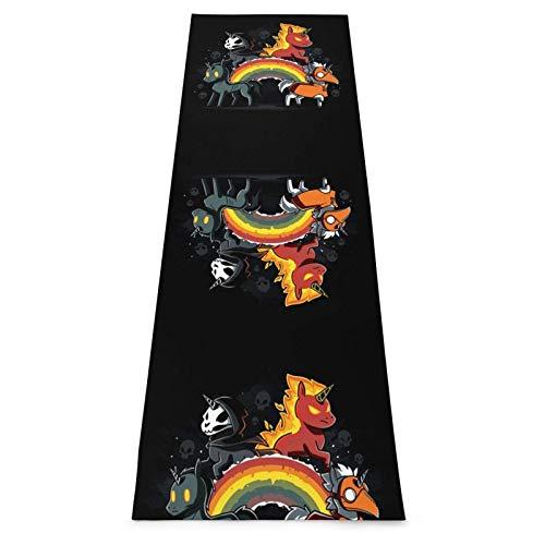 Alfombrilla de yoga gruesa con diseño de calavera arcoíris para Halloween, antideslizante, acolchada para evitar dolores de rodillas, perfecta para yoga, pilates y fitness