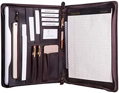 Gavarnie Genuine Leather Professioal Business Portfolio Padfolio Folder with Zipper for Men product image