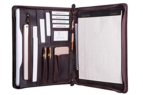 Gavarnie Genuine Leather Professioal Business Portfolio Padfolio Folder with Zipper for Men,...