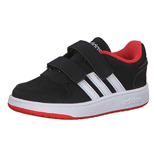 adidas Unisex Kinder Hoops 2.0 Sneaker, Schwarz (Core Black/Footwear White/Hi-Res Red 0), 21 EU