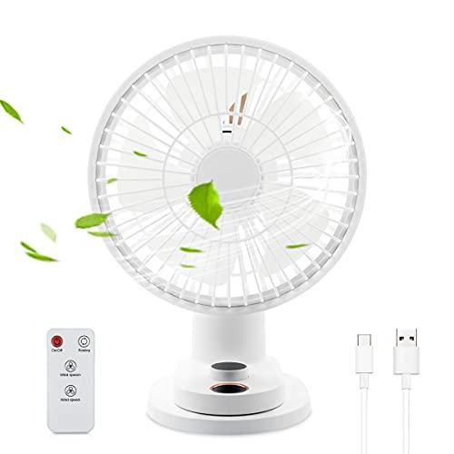WasaFire Ventilador de refrigeración de mesa Ventilador portátil recargable con clip oscilante Velocidad del ventilador 0-100%, pantalla LED y mando a distancia