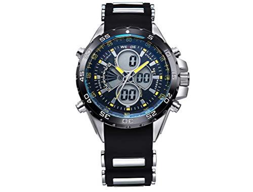 CursOnline - Elegante Reloj de Pulsera para Hombre Weide WH-1103R, Doble Hora analógica y Digital, LED y Cuarzo, Correa de Caucho Suave, Resistente al Agua, luz LED, Alarma y Fecha. Color Amarillo.