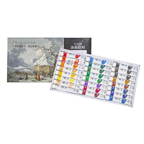 Ölfarbe in 18 Tönen je 200ml Feine Farben für Malen Profi Farben Top Preis (Ölfarben Set - 24 Tuben je 12 ml)
