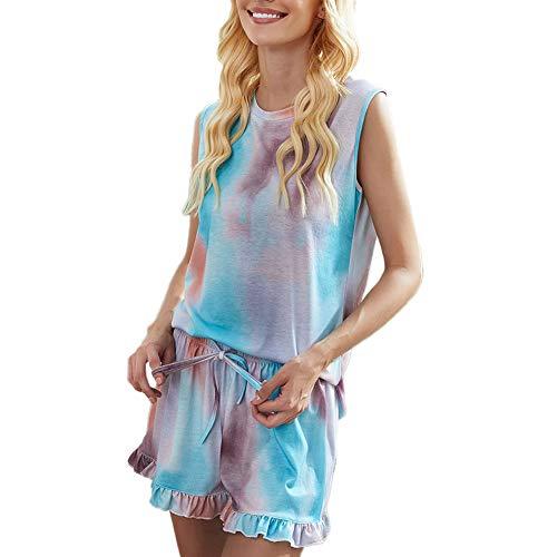 ECHOINE Women's 2 Piece Pajama Sets Tie Dye Printed Tank Top Elastic Drawstring Shorts Lounger Sleepwear Nightgown Blue 2XL