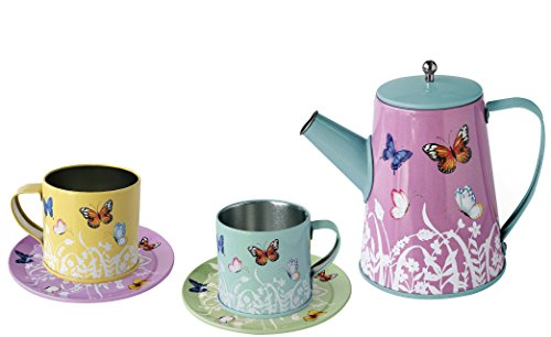 Magni Co. Image Toys Kinder-Teeservice Lovebirds Spiel-Service Tee Set für die Kinderküche Kaufladen 6 teilig aus leichtem Metall Schmetterlinge