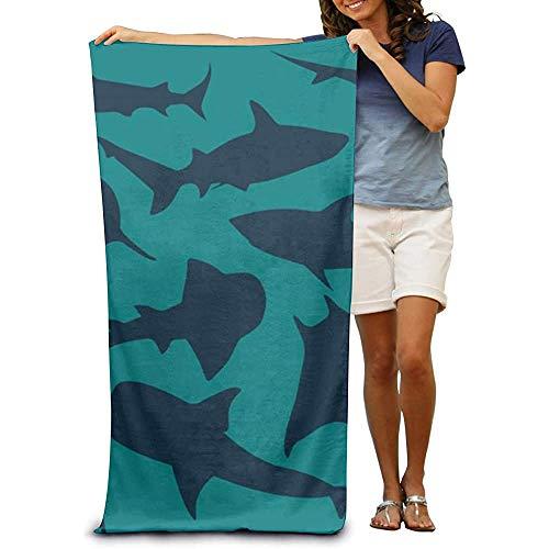 Shark Fish Strandhanddoekenwikkel, licht absorberend, sneldrogend, SPA-handdoeken, badpak, bad- en douchehanddoek, voor vrouwen en mannen, meisjes en jongens, 32 x 52 inch