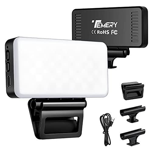 Temery Videokonferenz Licht, Videokonferenz Beleuchtungsset mit 3 Clips, 3000mAh LED Videoleuchte(Dimmbar und Wiederaufladbar) für videokonferenz, Zoom Anrufe, Fernarbeit, Make-up, Live-Übertragung