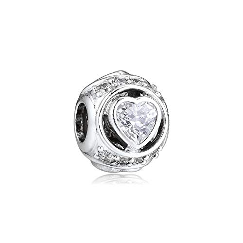 Joyería De Plata De Ley 925 para Mujer Abalorios De Corazón Elevados Se Ajustan A Pulseras Pandora Europeas Collares Fabricación De Joyas DIY