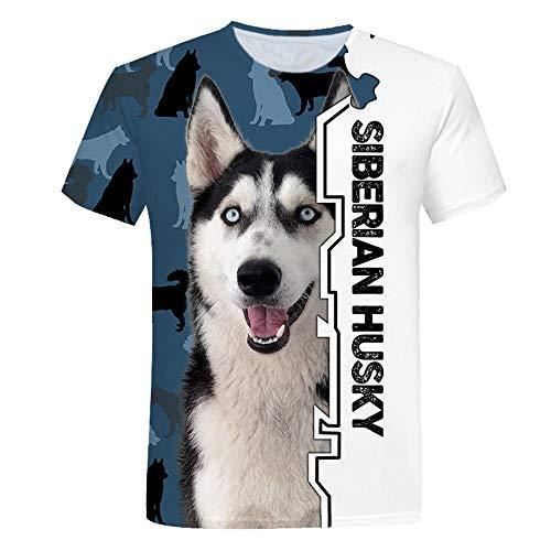 3D impresión Manga Corta Camiseta,Husky Siberiano Verano Casual Manga Corta tee-Shirt para Vacaciones de Verano de la Playa,2XL
