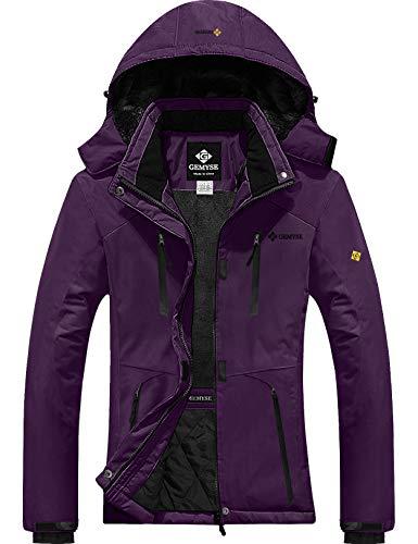 GEMYSE Women's Waterproof Ski Snow Jacket Insulated Winter Windproof Fleece Jacket with Hood (Purple,Medium)