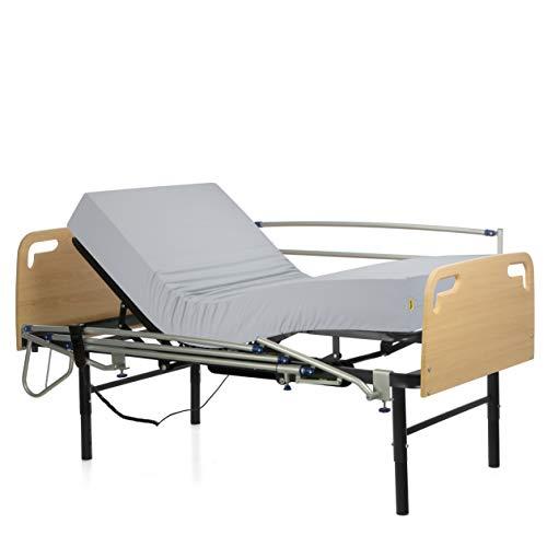 Ferlex - Cama articulada eléctrica geriátrica hospitalaria con Patas Regulables | Cabecero y Piecero | Colchón Sanitario viscoelástico | Barandillas abatibles (105x200)