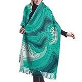 Green Topo Earth Science Manta, tapiz, mantón grande Bufanda gruesa y cálida de invierno, chal 77'X 27'