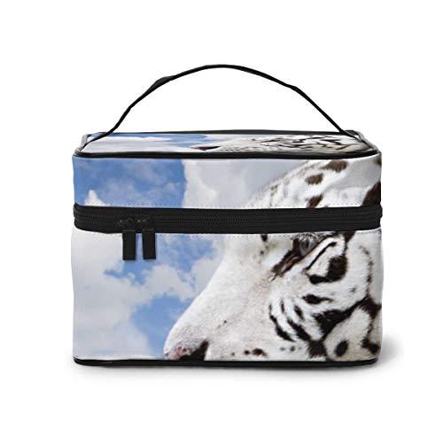YudoHong Bolsas de Maquillaje Tigre Blanco: Hermoso Maquillaje Grande Bolsas de cosméticos de Viaje portátiles Estuches de Trenes Profesionales